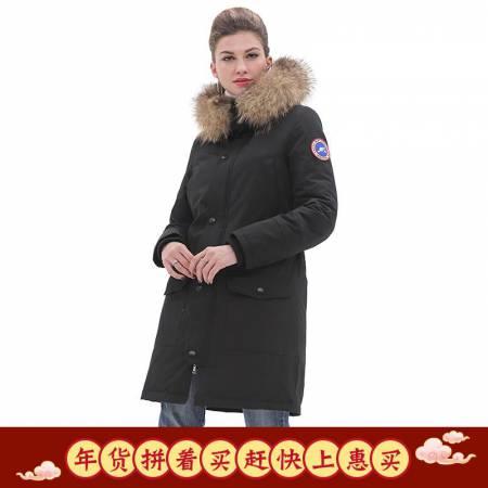 加拿大SaintDyfan强防水厚款女士白鹅绒服(升级款)·黑色