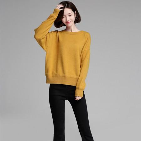 多多的世界秋冬新款纯色针织套衫 黄色