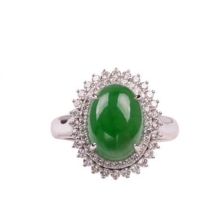 华翠缘18K金镶钻绿色老坑冰种翡翠戒指