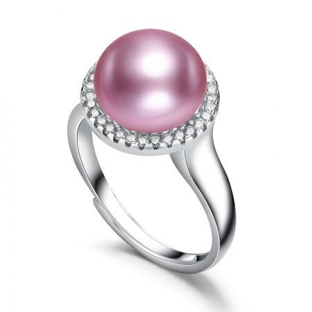 水年华S925银强光紫色珍珠戒指·紫色