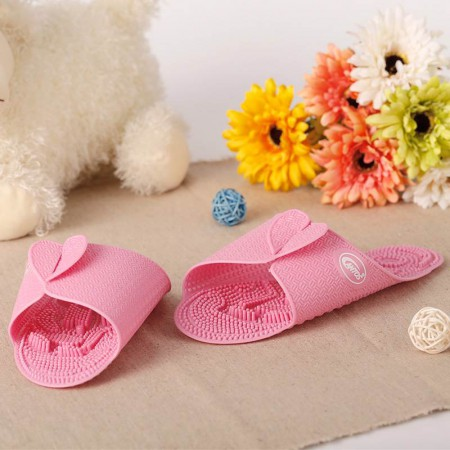 利快·韩国Cantos便携指压室内多功能按摩拖鞋·粉红色~