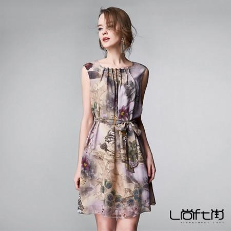 尚街 无袖印花系带真丝连衣裙·花色