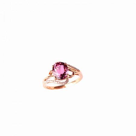 卓凡碧玺搭配钻石戒指