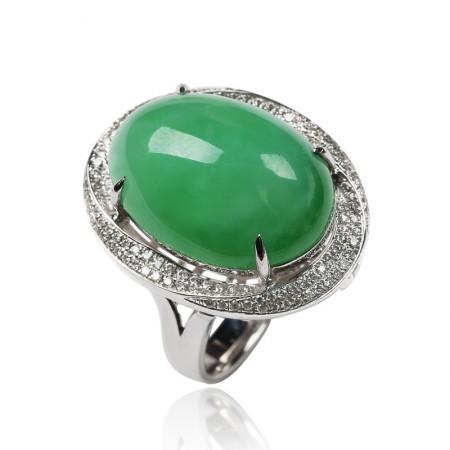 工美珠宝18K白镶钻翠绿蛋面戒指吊坠两用款
