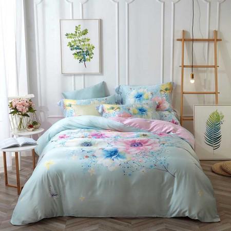 莱薇新蕊花涧美式天丝活性印花四件套6尺床