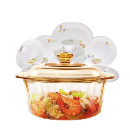 美国康宁 4.1升晶钻锅汤锅炖锅+碗碟12件套快乐厨房系列