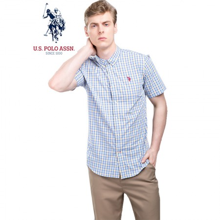 u.s.polo assn.(美国马球协会)美式短袖衬衫 蓝黄格·男