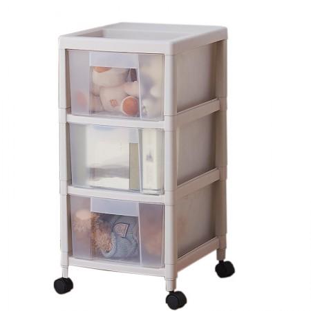 吉优百 韩式磨砂可视透明收纳柜三层·白色实体