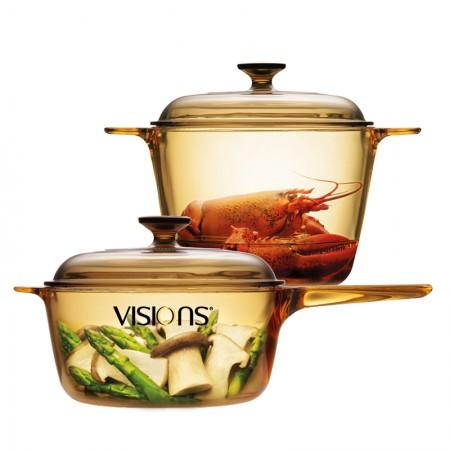 美国康宁 晶彩透明单柄汤锅2.5L+汤锅3.5L组合VS35+VSP25·黄/多色