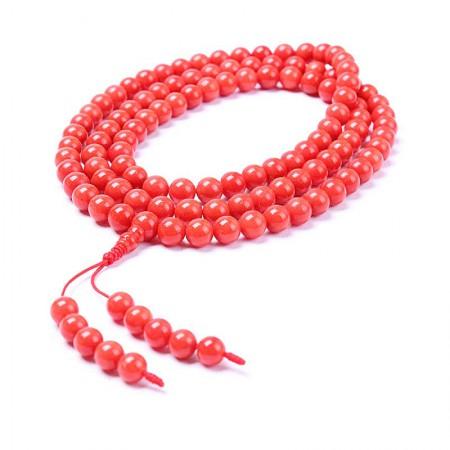 映时红珊瑚圆珠108颗项链手串多用款