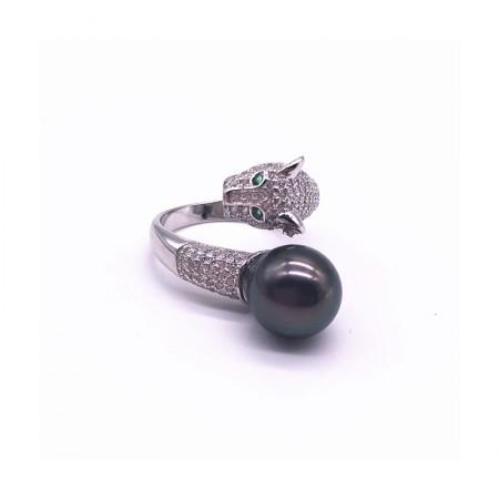 Vermeer 孔雀色 S925银+锆石大溪地黑珍珠豹头戒指10-11mm·孔雀色