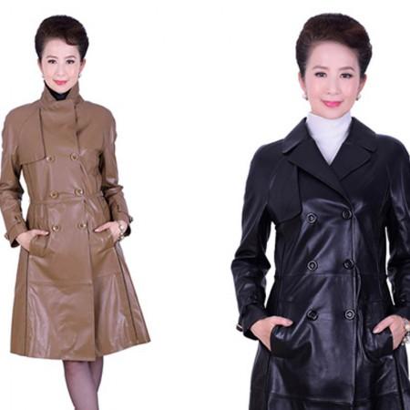 艾菲爱得 头层绵羊皮双排扣外套·棕色