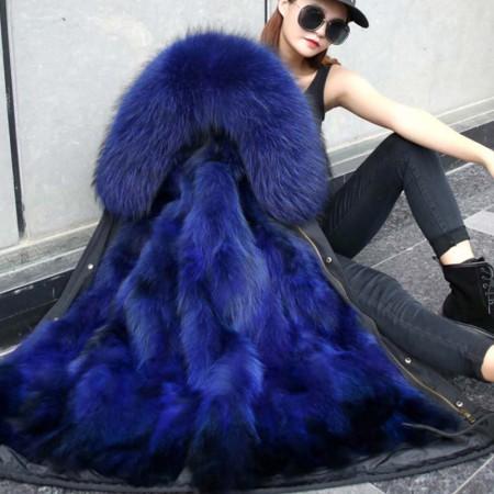 米彩微姿 90长度星星款狐狸毛内胆派克服皮衣皮草大衣外套180915·蓝色