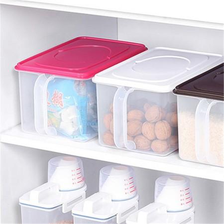 INOMATA 日本进口手柄塑料收纳盒 冰箱收纳箱食品储物5升B215·白色