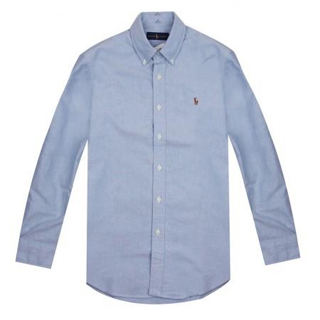 Polo 男士小马标牛津纺浅蓝色彩马标长袖衬衫·浅蓝色