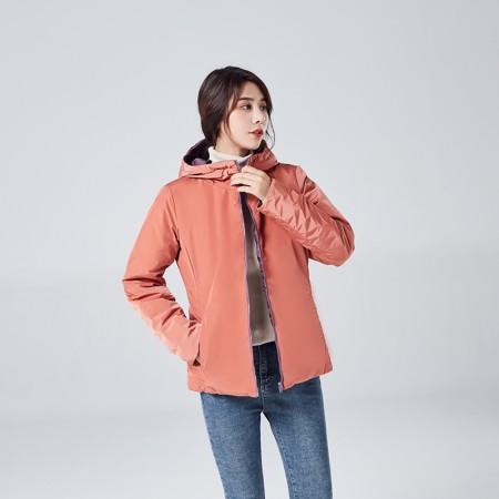 迪欧达女士高领防寒双面穿飞行夹克波兰绒鹅绒服DX8101·橘粉