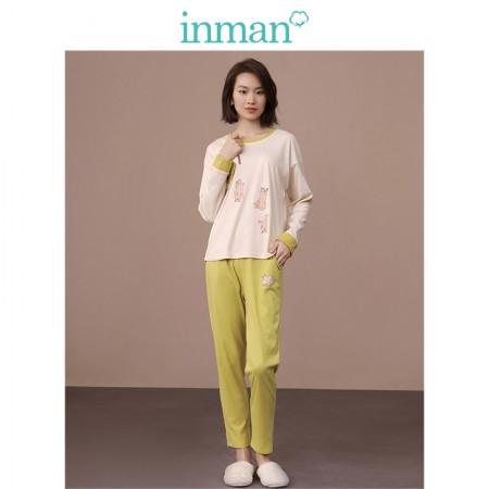茵曼可爱小猫卡通宽松舒适棉质家居服套装9884432116·黄色