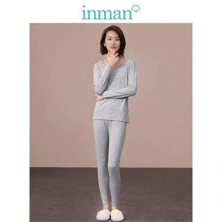 茵曼圆领轻薄棉质不易起球宽松保暖套装9884483102·灰色