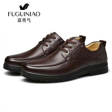 富贵鸟秋冬新款真皮男士气质休闲皮鞋A809303·棕色