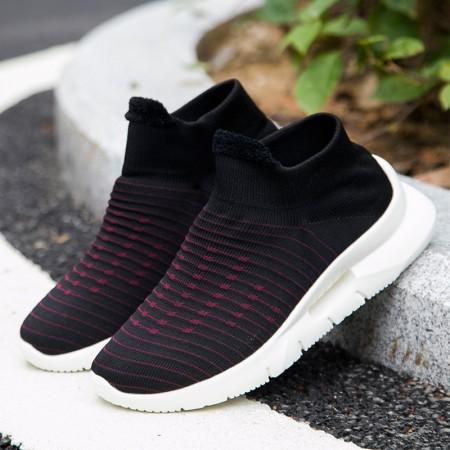 超轻软底袜子鞋一脚蹬健步鞋18021·女黑红  女黑红
