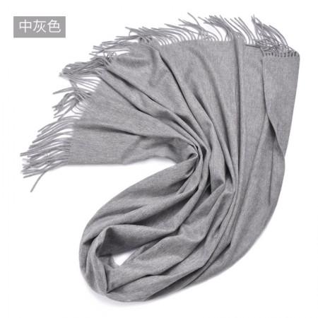 漫丽依加厚全羊毛围巾大披肩70*200CM SWR0030·中灰