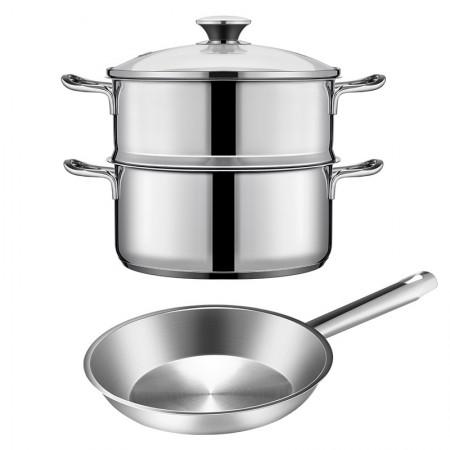 HomeOneTreasure出口品质不锈钢锅二件组