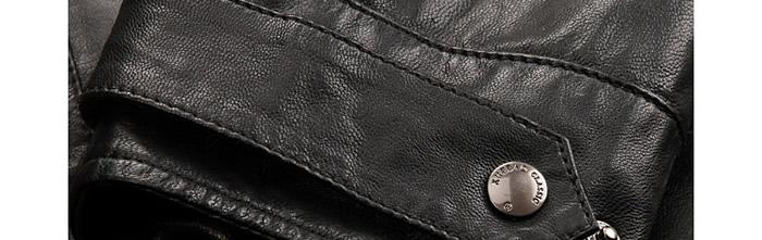 雪豹山羊皮男式立領真皮夾克 黑色圖片