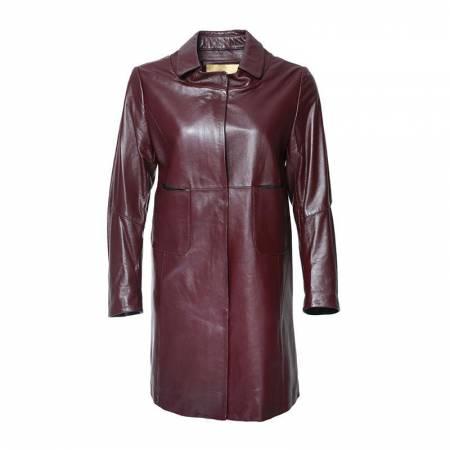 恺瑞女士单皮衣·酒红色