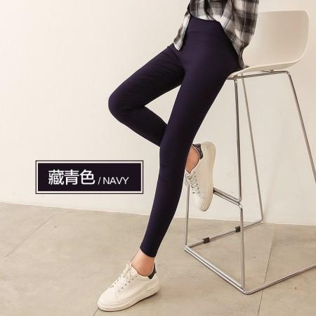 俞兆林女士外穿纯色打底裤超弹中高腰小脚裤 简约百搭必备款(90-150斤可穿)·藏青色  藏青色